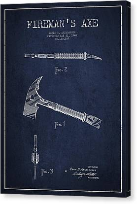 Gear Canvas Print - Fireman Axe Patent Drawing From 1940 by Aged Pixel