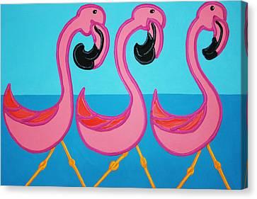 3 Flamingos  Canvas Print by Matthew Brzostoski