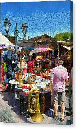 Flea Market In Athens Canvas Print by George Atsametakis