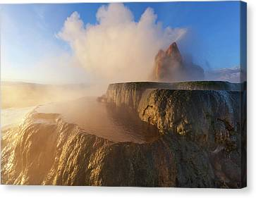 Fly Geyser With Snow Capped Granite Canvas Print