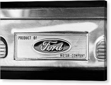 Powered By Ford Emblem -0307bw Canvas Print by Jill Reger