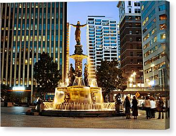 Fountain Square Canvas Print by Scott Meyer