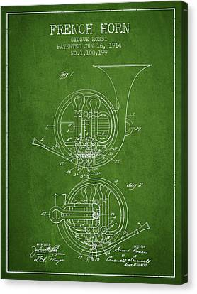 French Horn Patent From 1914 - Green Canvas Print by Aged Pixel