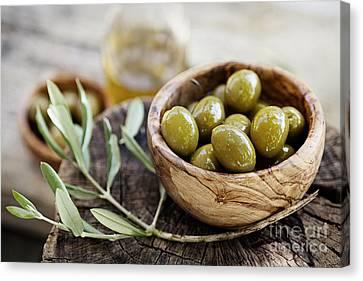 Fresh Olives Canvas Print by Mythja  Photography