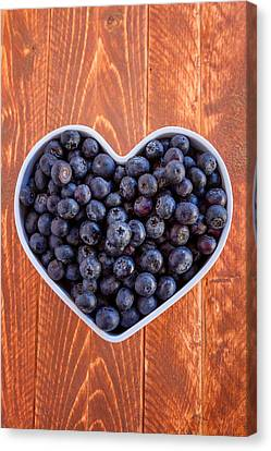 Fresh Picked Organic Blueberries Canvas Print by Teri Virbickis