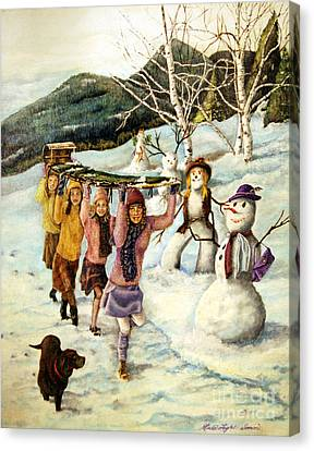 Frosty Frolic Canvas Print by Linda Simon