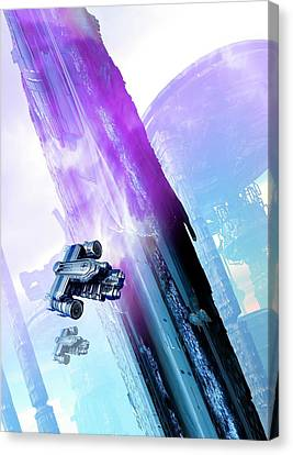 Outer Space Canvas Print - Futuristic Space Station by Victor Habbick Visions