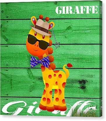 Georgie Giraffe Collection Canvas Print by Marvin Blaine