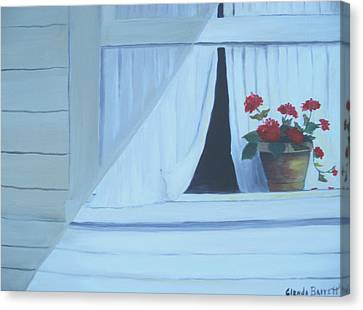 Geraniums On Windowsill Canvas Print by Glenda Barrett