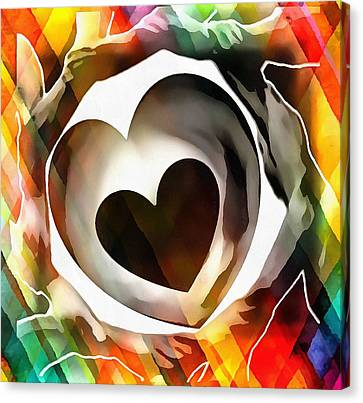 Canvas Print featuring the digital art Get Connected At Heart by Catherine Lott