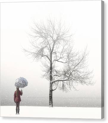 Girl With Umbrella Canvas Print