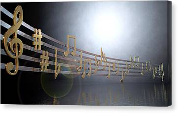 Gold Music Notes On Wavy Lines Canvas Print