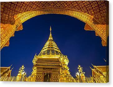 Golden Pagoda Canvas Print by Anek Suwannaphoom