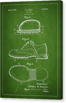 Golf Shoe Patent Drawing From 1931 Canvas Print