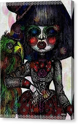 Gothic Girl And Bird Canvas Print by Akiko Okabe