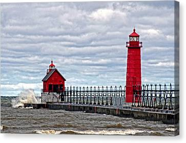 Grand Haven Lighthouse Canvas Print by Cheryl Cencich