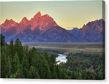Canvas Print featuring the photograph Grand Tetons Morning At The Snake River Overview - 2 by Alan Vance Ley