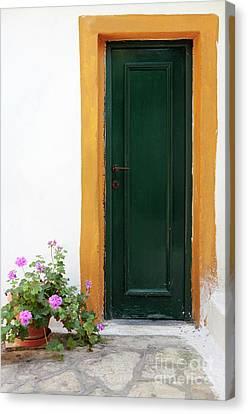 Greek Door Canvas Print by Neil Overy