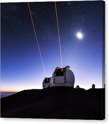 Guide Lasers Over Mauna Kea Observatories Canvas Print by Babak Tafreshi