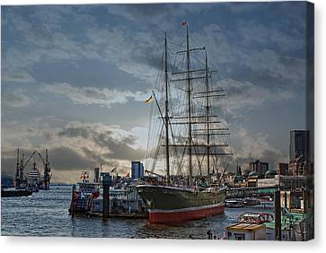 Hamburg Harbor Canvas Print by Joachim G Pinkawa