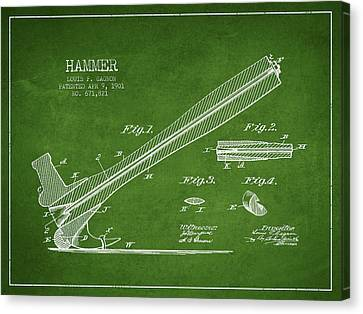 Hammer Patent Drawing From 1901 Canvas Print by Aged Pixel