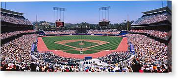 Dodger Stadium Canvas Print - High Angle View Of Spectators Watching by Panoramic Images
