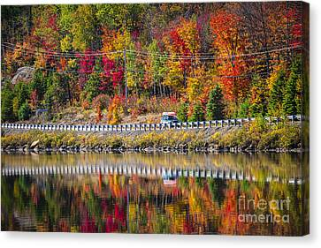 Highway Through Fall Forest Canvas Print by Elena Elisseeva