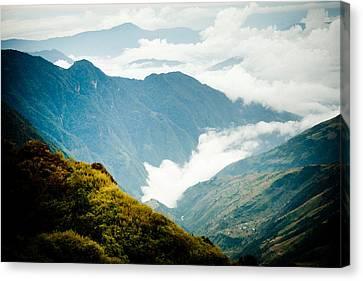 Himalayas Mountain With Clouds  Panaramic Canvas Print by Raimond Klavins