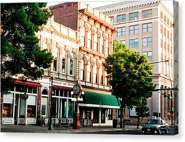 Historic Buildings Along Main Street Canvas Print by Nik Wheeler