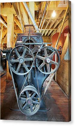 Historic Flour Mill Machinery Canvas Print by Jim West