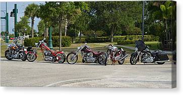Hogs And Choppers Canvas Print by Laura Fasulo