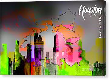 Houston Texas Map And Skyline Watercolor Canvas Print by Marvin Blaine