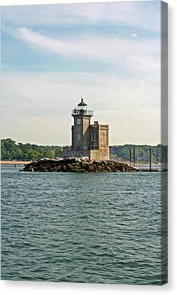 Canvas Print featuring the photograph Huntington Lighthouse by Karen Silvestri