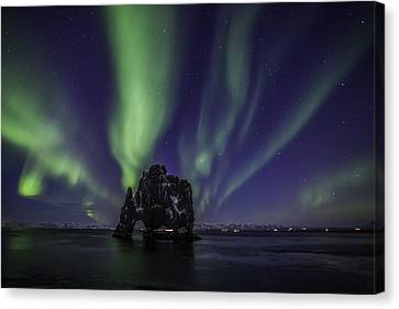 Canvas Print featuring the photograph Hvitserkur by Frodi Brinks