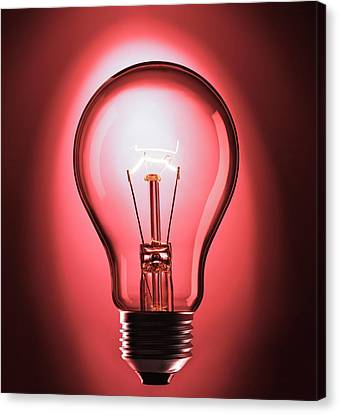 Incandescent Canvas Print - Incandescent Light Bulb by Science Photo Library