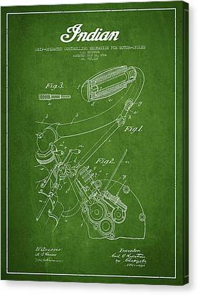 Indian Motorcycle Patent From 1904 - Green Canvas Print