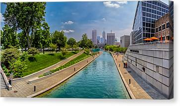 Indianapolis Skyline From The Canal Canvas Print
