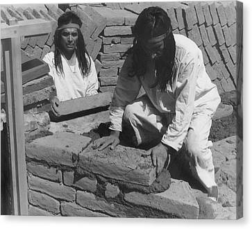Mission California Canvas Print - Indians Building Missions by Underwood Archives Onia