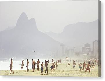Dois Irmaos Canvas Print - Ipanema Beach, Rio De Janiero,, Brazil by Kevin Berne