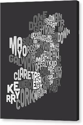 Ireland Eire County Text Map Canvas Print by Michael Tompsett