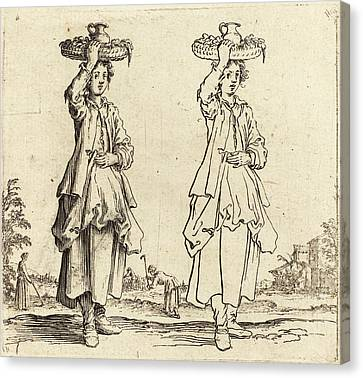 Basket Head Canvas Print - Jacques Callot French, 1592 - 1635, Peasant Woman by Quint Lox