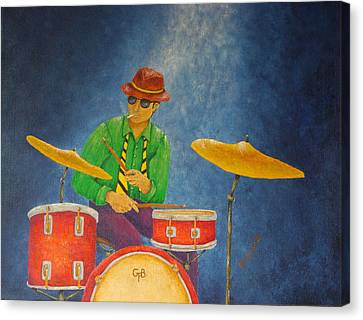 New Stage Canvas Print - Jazz Drummer by Pamela Allegretto