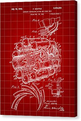 Jet Engine Patent 1941 - Red Canvas Print by Stephen Younts