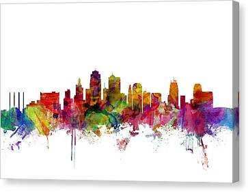 Kansas City Skyline Canvas Print by Michael Tompsett