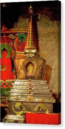 Ladakh, India The Interior Of The Hemis Canvas Print by Jaina Mishra
