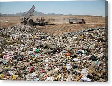 Landfill Waste Disposal Site Canvas Print by Peter Menzel