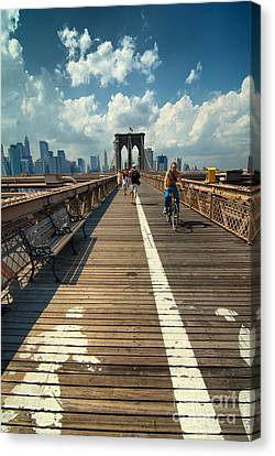 Lanes For Pedestrian And Bicycle Traffic On The Brooklyn Bridge Canvas Print by Amy Cicconi
