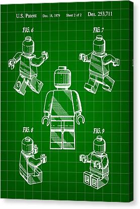 Lego Figure Patent 1979 - Green Canvas Print by Stephen Younts