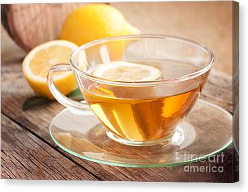 Lemon Fruit Tea Canvas Print by Mythja  Photography