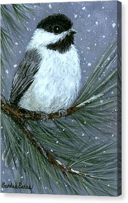 Let It Snow Chickadee Canvas Print
